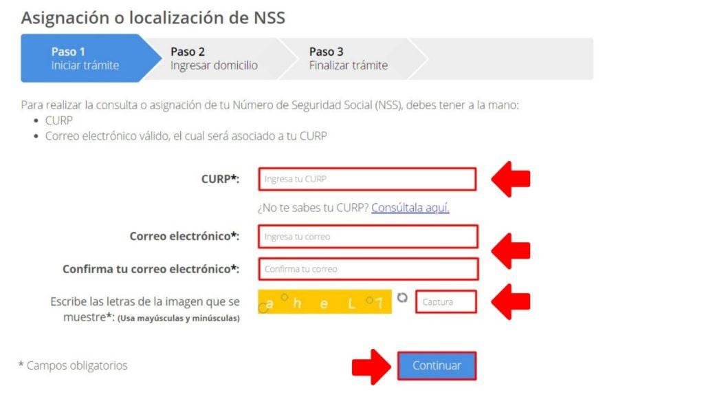 Asignación o localización de NSS de la cita IMSS