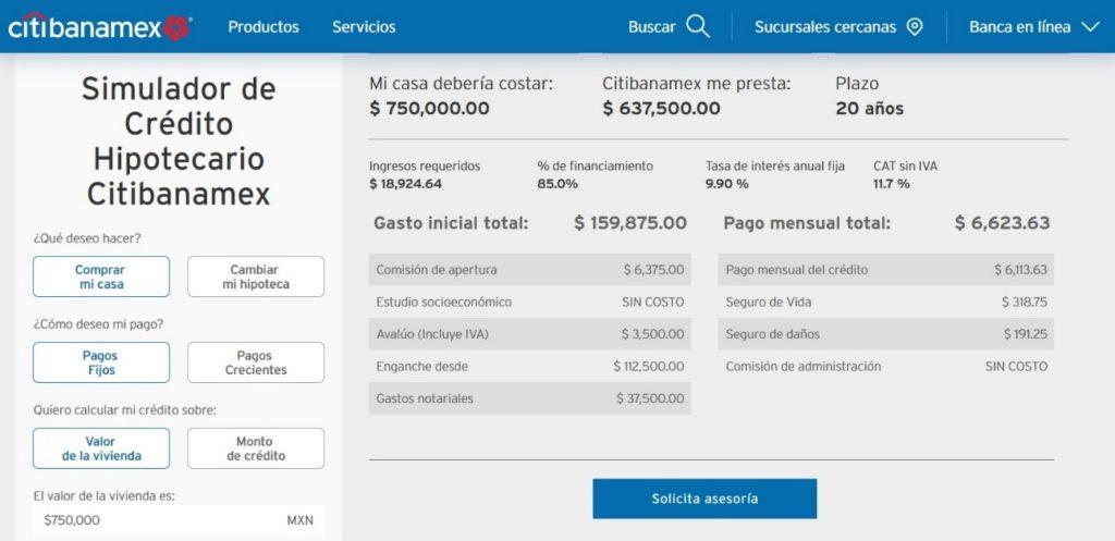 Simulador de Crédito Hipotecario Banamex