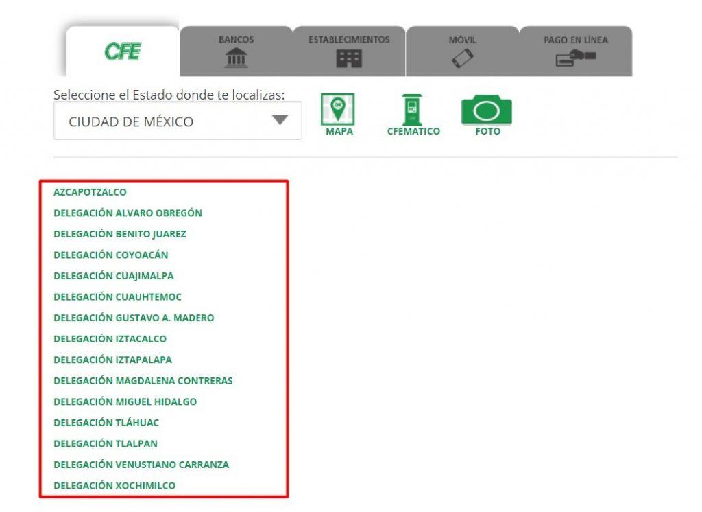 cómo ubicar las sucursales del CFE
